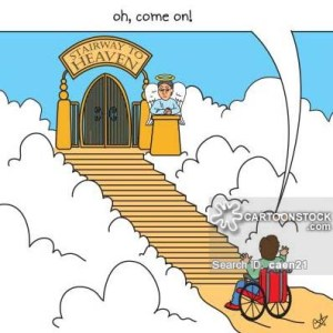 Stairway to heaven with man in wheelchair at bottom.